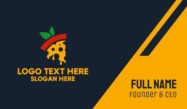 vegan food - Pizza Margherita  Business card horizontal design