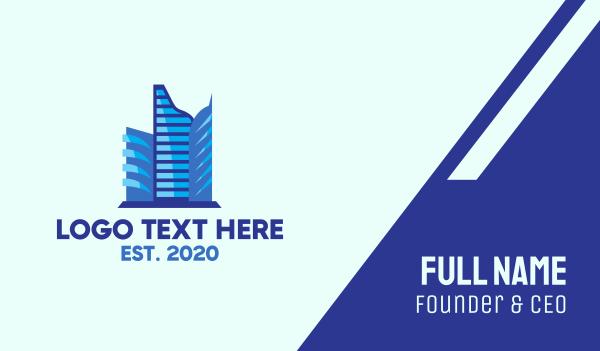 metropolis - Blue Corporate Building Business card horizontal design