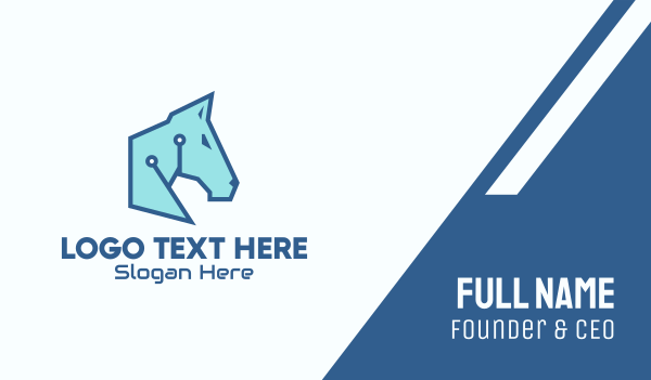 digital security - Digital Blue Horse Business card horizontal design