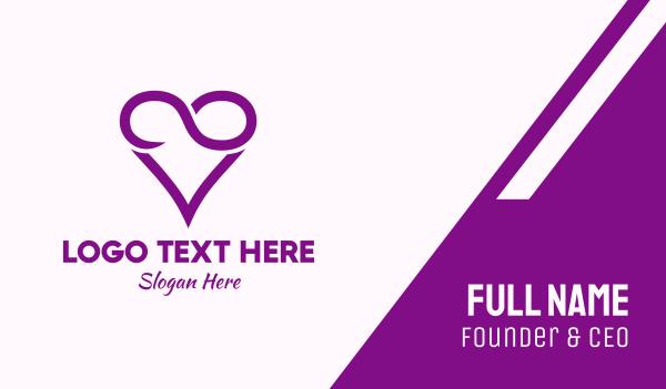 dating website - Violet Infinite Love  Business card horizontal design