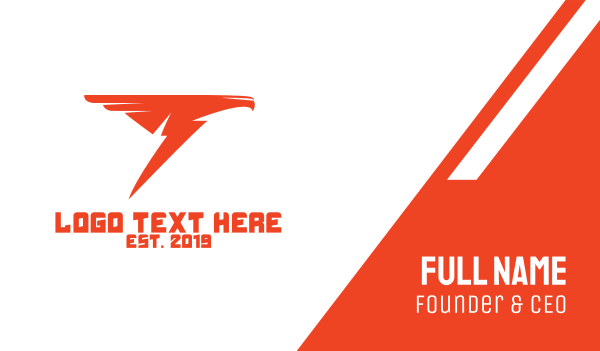 autoparts - Orange Thunder Bird Business card horizontal design
