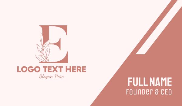 aesthetics - Elegant Leaves Letter E Business card horizontal design