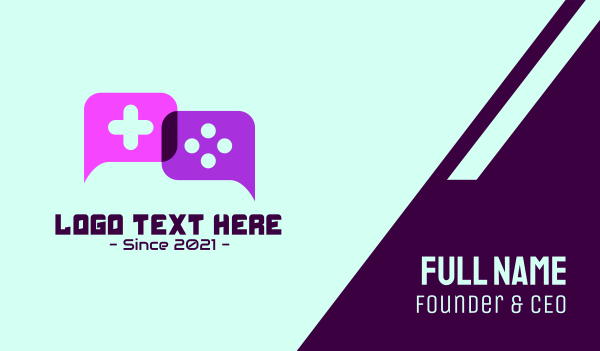 game controller - Console Gaming Chat Business card horizontal design