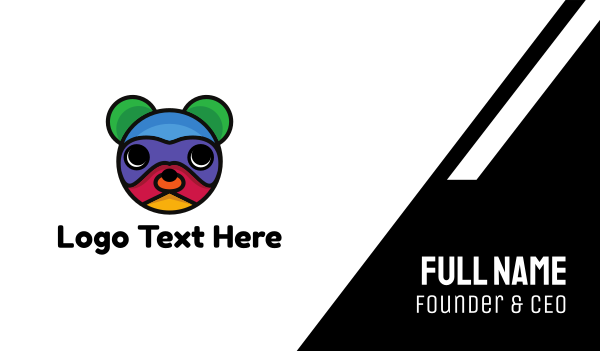 teddy - Colorful Bear  Business card horizontal design