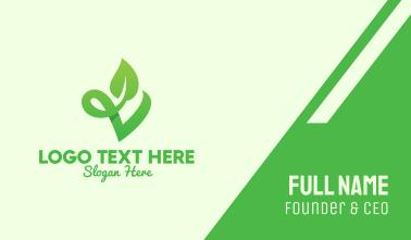 Green Natural Leaf Letter V Business Card