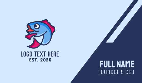 tuna - Blue Fish Mascot Business card horizontal design