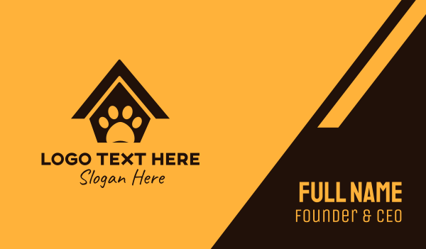 dog house - Black Pet House Business card horizontal design