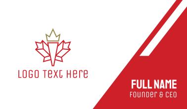Canadian Leaf Outline Business Card