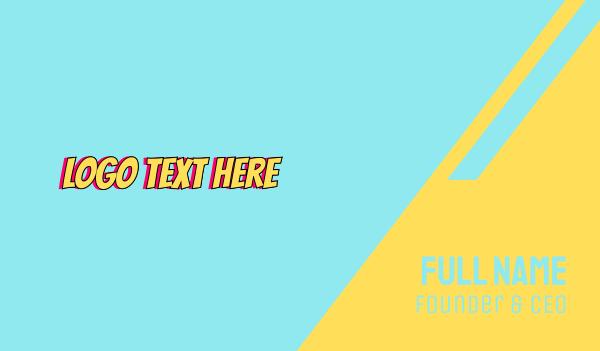 beach - Cartoon Wordmark Business card horizontal design