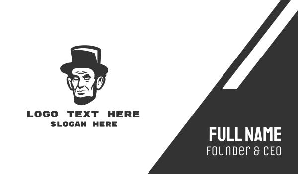 black hat - Monochromatic Lincoln Head Business card horizontal design