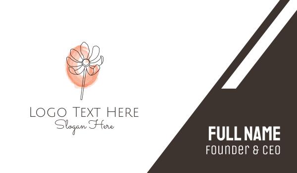 petal - Minimalist Watercolor Flower Business card horizontal design