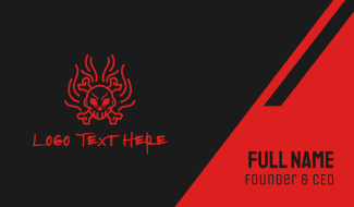 Red Flame Skull Crossbones Business Card