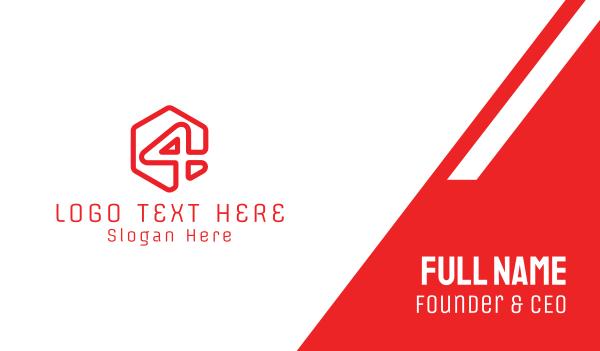 red hexagon - Red Hexagon Number 4 Business card horizontal design