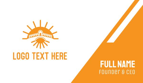 sandblast - Orange Sun Temple  Business card horizontal design