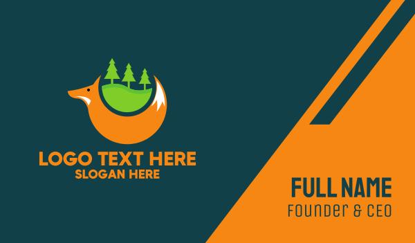 jungle - Forest Fox Trees Business card horizontal design