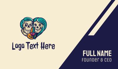 Skeleton Skull Lovers Heart Business Card