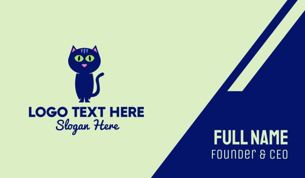 cat face - Blue Cat Character Business card horizontal design