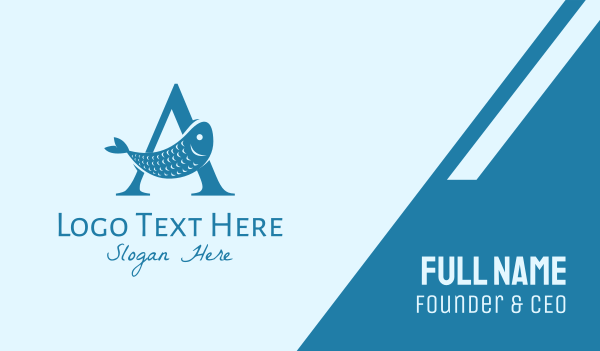 fisheries - Blue Fish Letter A Business card horizontal design