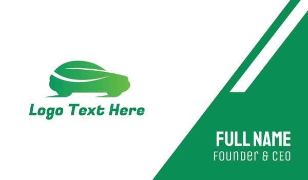 hybrid - Green Leaf Car Business card horizontal design