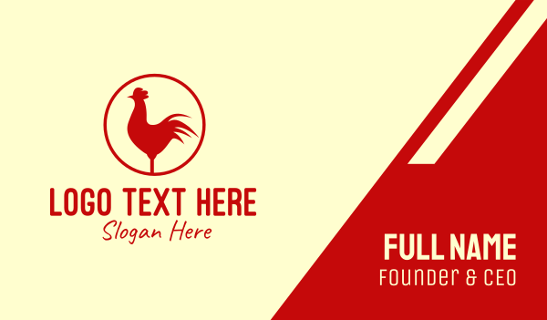 chicken farm - Circle Red Chicken  Business card horizontal design