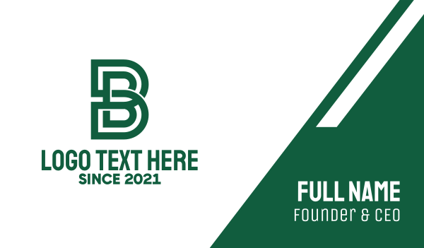 media company - Green Letter B Maze  Business card horizontal design