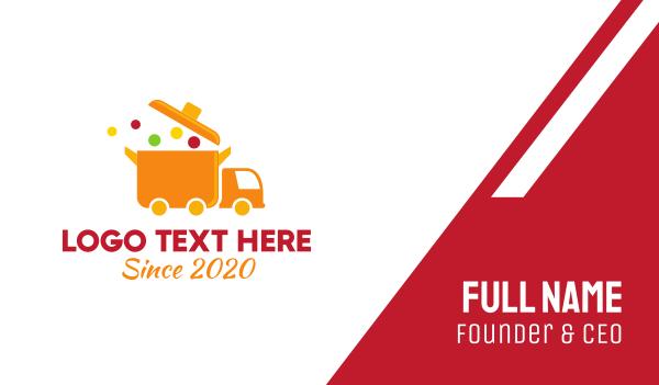 delivery service - Orange Food Truck Business card horizontal design