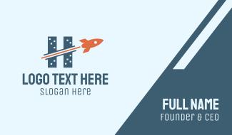 Rocket Buildings Letter H Business Card