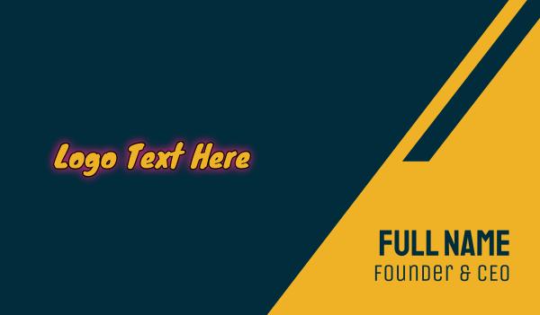 word - Comic Playful Glowing Wordmark Business card horizontal design