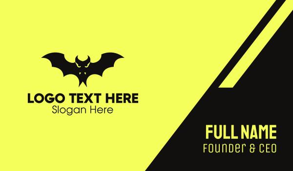 spooky - Black Vampire Bat Business card horizontal design