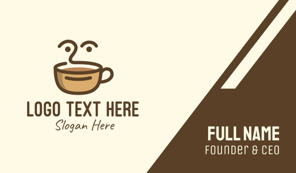 coffeehouse - Brown Coffee Face Business card horizontal design