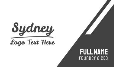 Sydney Text Font Business Card