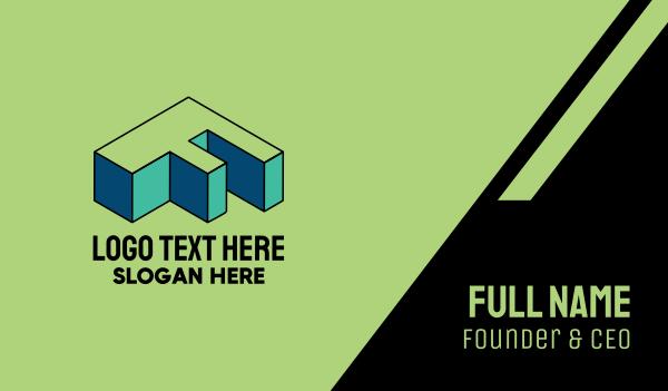 pop art - 3D Pixel Letter F Business card horizontal design