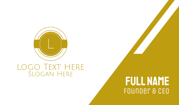 pricey - Gold Round Lettermark Business card horizontal design