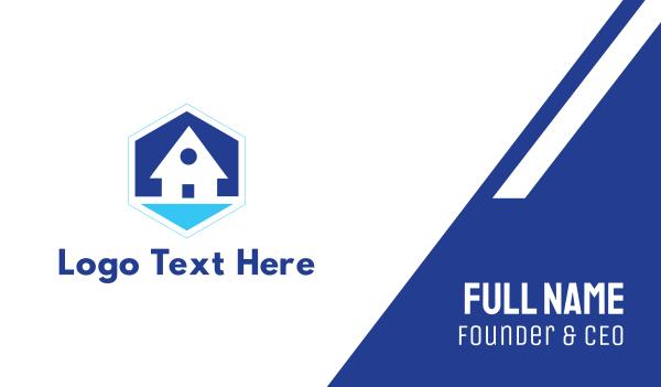 blue hexagon - Blue Beach House Business card horizontal design