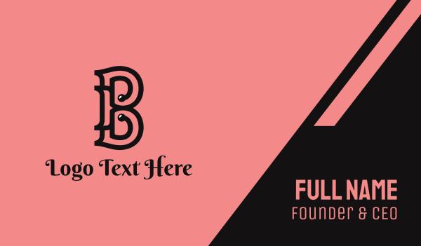 beauty brand - Classic B Outline Business card horizontal design