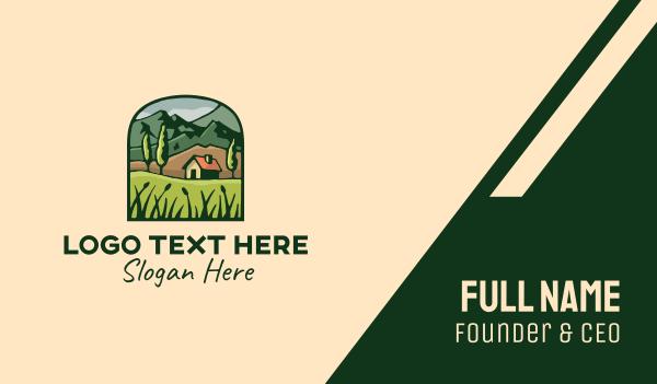 farmland - Forest Nature Rural House Business card horizontal design