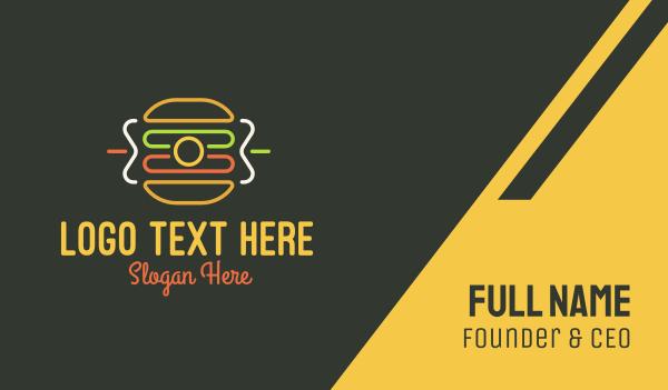 fastfood - Neon Sandwich Camera Monoline Business card horizontal design
