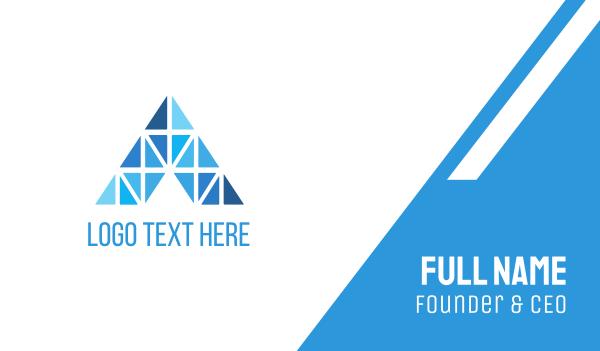 athens - Blue Diamond Letter A Business card horizontal design