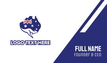 Australian Flag Kangaroo Business Card