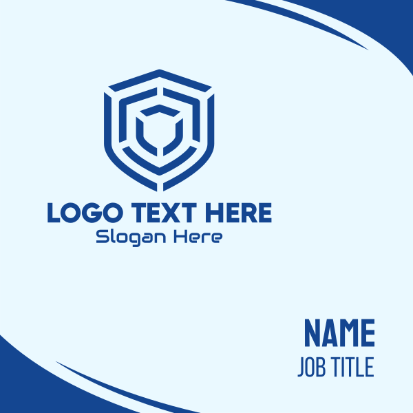 Blue Maze Shield Business Card