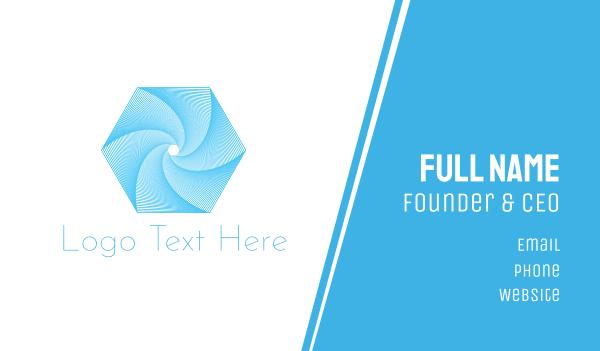 blue hexagon - Hexagonal Tornado Business card horizontal design