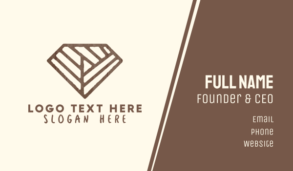 fittings - Brown Rustic Diamond Business card horizontal design