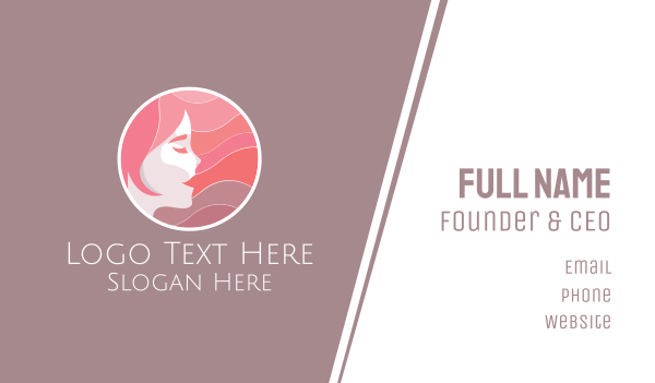 female - Hairdresser Beauty Face  Business card horizontal design