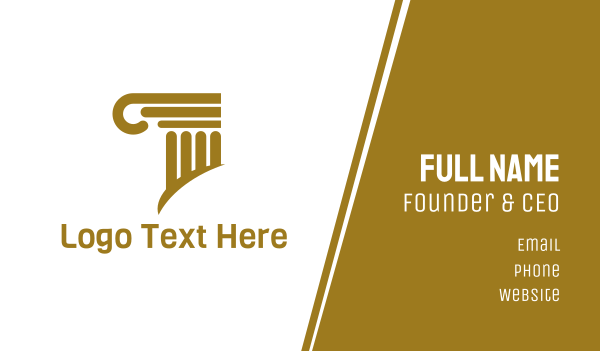judge - Golden Elegant Pillar Business card horizontal design