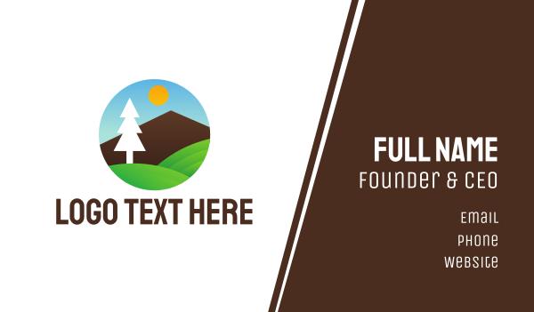 scenic - Geometric Tree Landscape Business card horizontal design