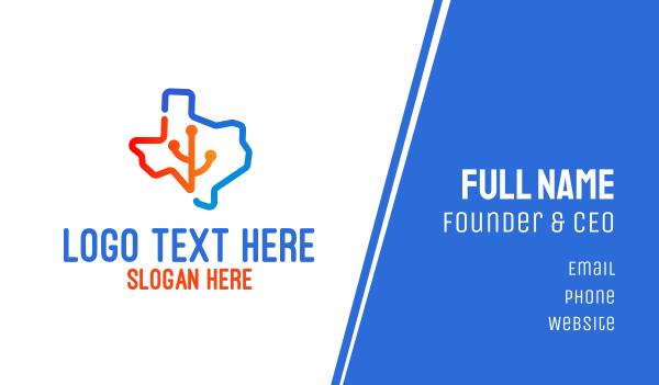 state - Texas Map Technology Business card horizontal design