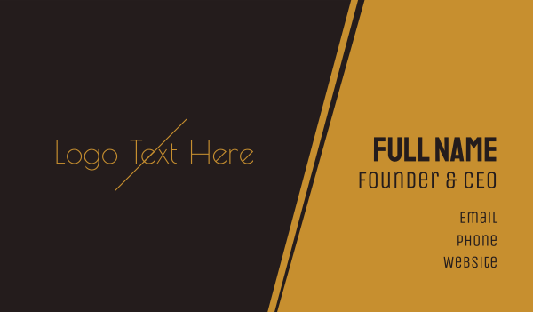 quality - Golden  Minimalist Wordmark Business card horizontal design