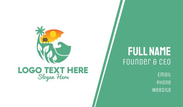ecofriendly - Ocean Vacation House Business card horizontal design
