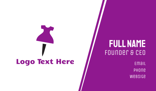 purple girl - Dress Pin Business card horizontal design
