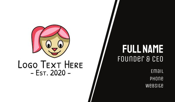 stuffed toy - Pink Hair Girl Cartoon Business card horizontal design